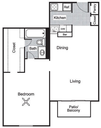 723 sq. ft. C1 floor plan