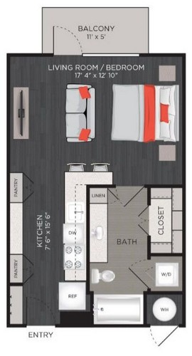 504 sq. ft. S1 floor plan