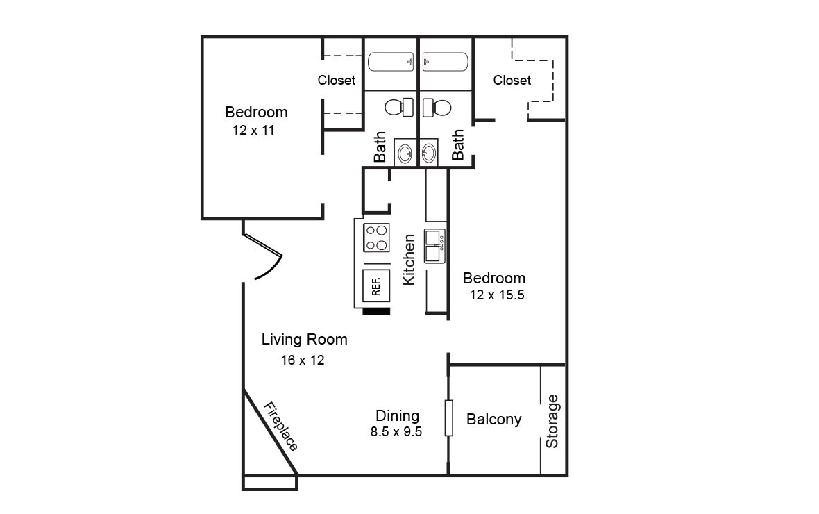 920 sq. ft. B floor plan