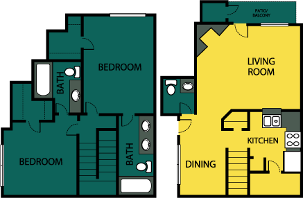 1,001 sq. ft. Prestige floor plan