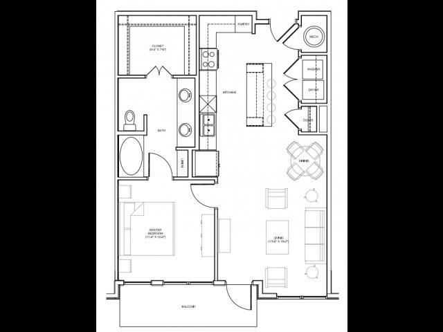 851 sq. ft. 1C floor plan