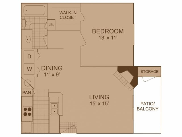 676 sq. ft. A3 floor plan