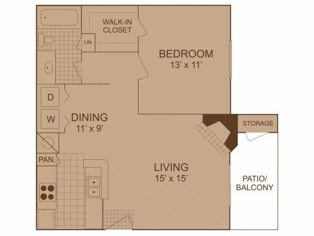 676 sq. ft. A3 floor plan