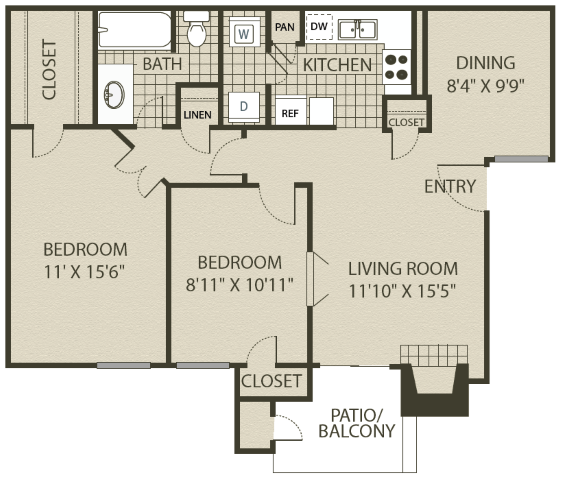 874 sq. ft. B1 floor plan