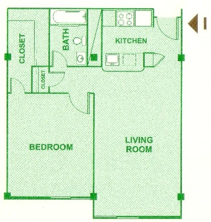 710 sq. ft. I floor plan