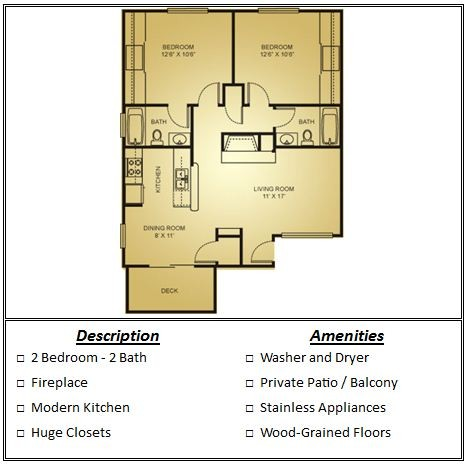 846 sq. ft. Mkt floor plan