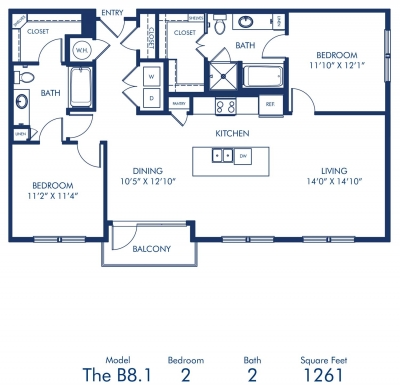 1,261 sq. ft. B8.1 floor plan