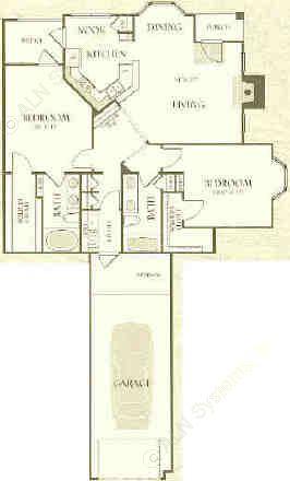 1,264 sq. ft. B2-L floor plan