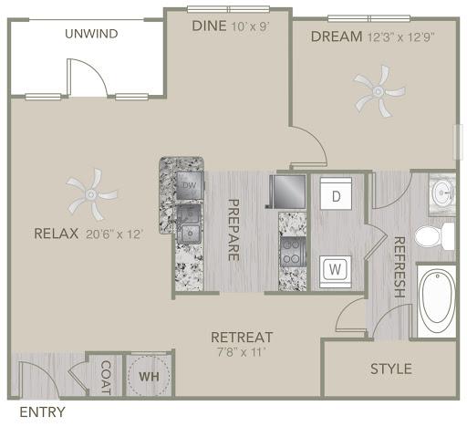 984 sq. ft. A2 floor plan