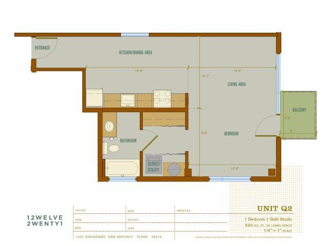 593 sq. ft. Q2 floor plan