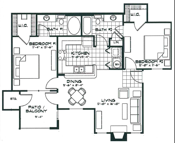 964 sq. ft. B2 floor plan