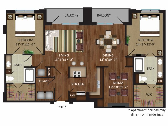 1,560 sq. ft. B9 floor plan