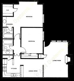 936 sq. ft. B-4 floor plan