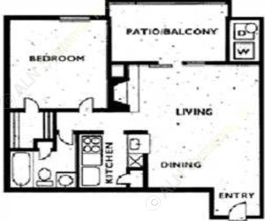 660 sq. ft. 1C1 floor plan
