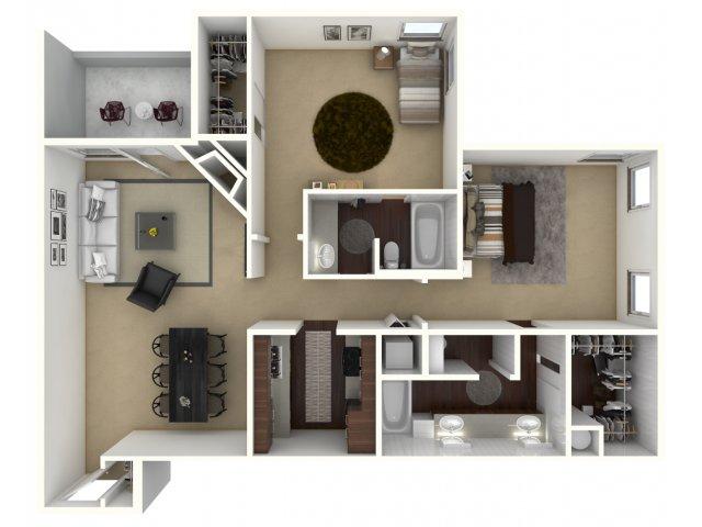 1,004 sq. ft. Domain floor plan