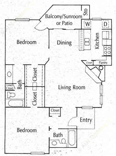 997 sq. ft. 22B floor plan
