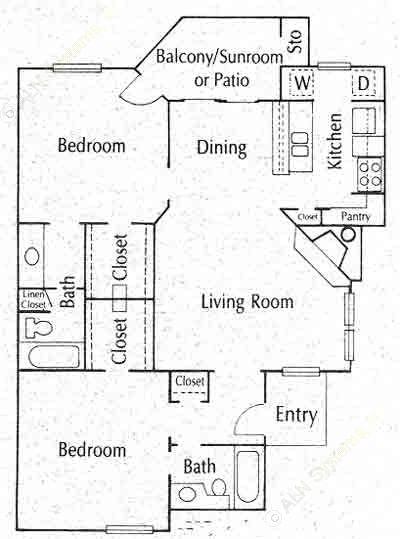 997 sq. ft. B2 floor plan