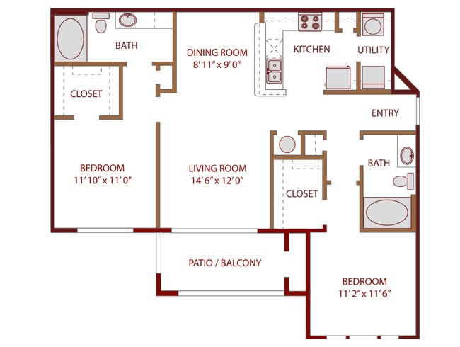 1,070 sq. ft. REJUVENATE floor plan