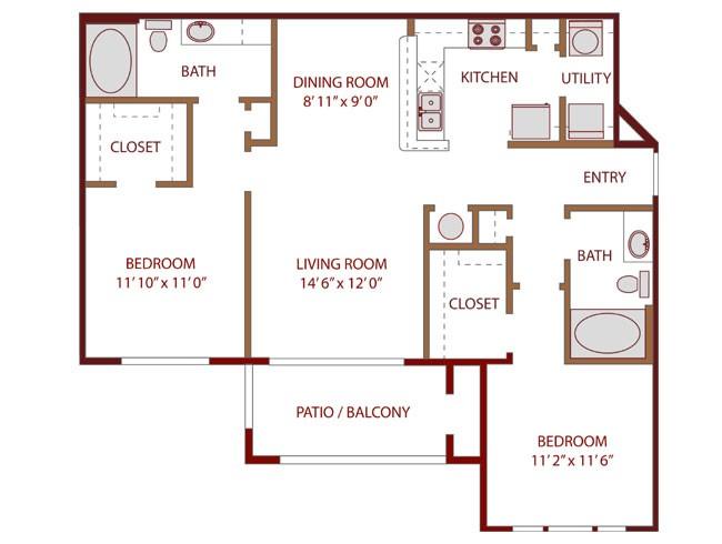 1,070 sq. ft. Rejuvenate floor plan
