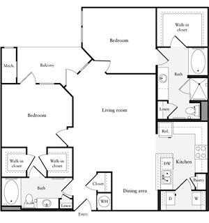 1,267 sq. ft. B2 floor plan