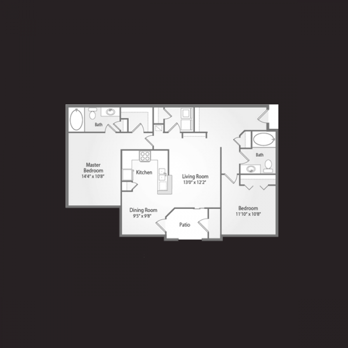 1,117 sq. ft. RIATA floor plan