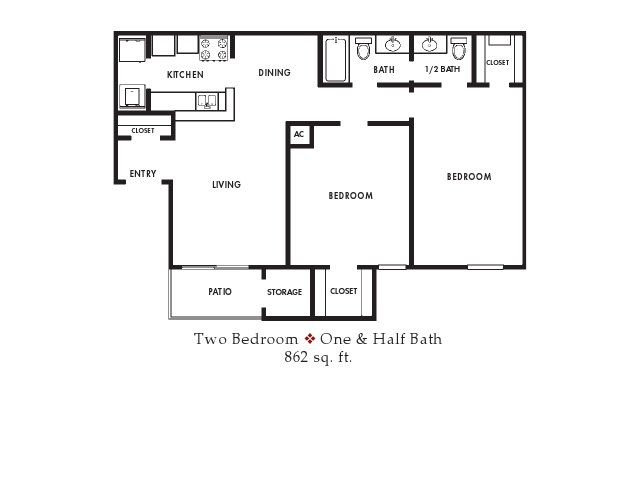 862 sq. ft. floor plan