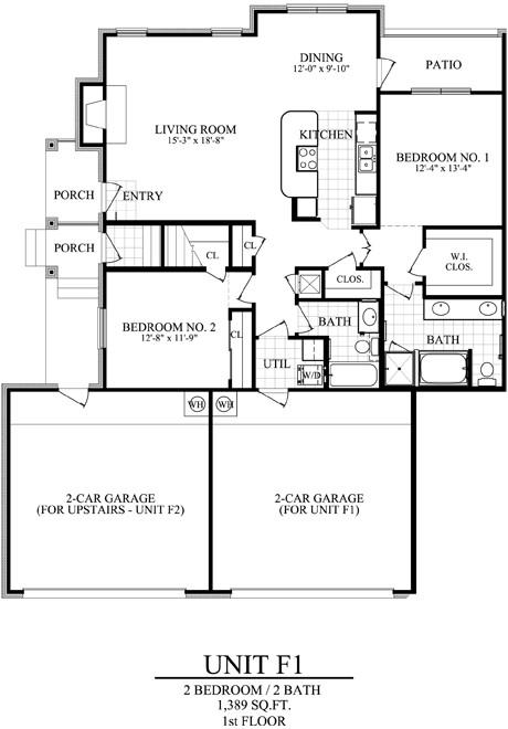 1,389 sq. ft. F1 floor plan