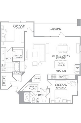 1,447 sq. ft. B3A floor plan