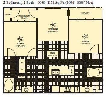 1,034 sq. ft. to 1,088 sq. ft. floor plan