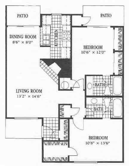 964 sq. ft. B8 floor plan