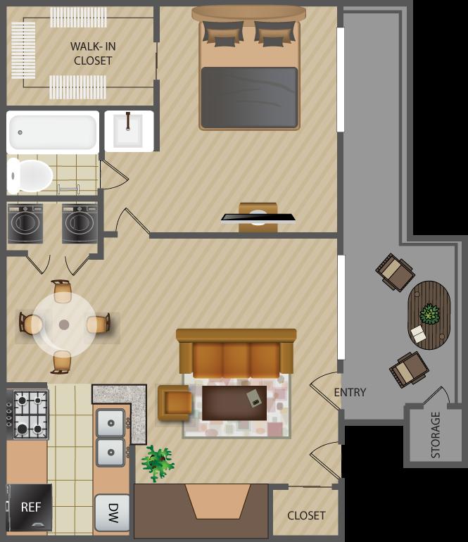627 sq. ft. Rose-A3 floor plan