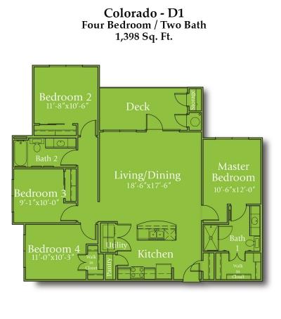 1,398 sq. ft. Colorado/60% floor plan