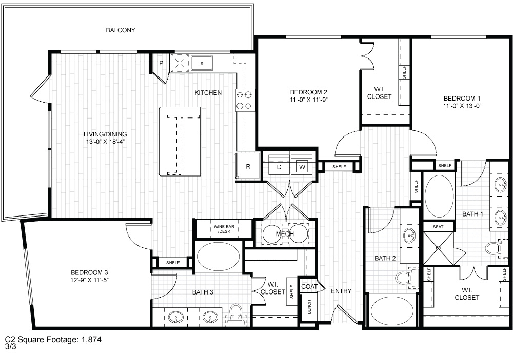1,874 sq. ft. C2 floor plan