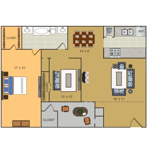 930 sq. ft. A2 floor plan