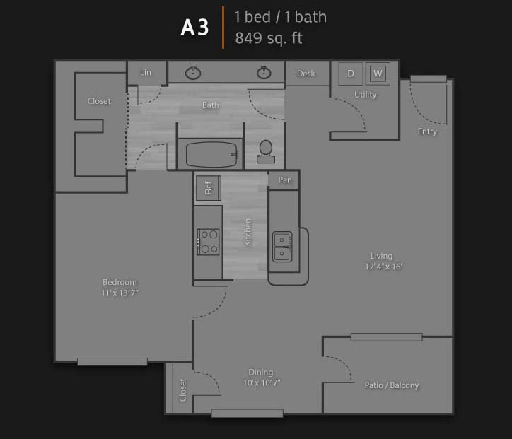 849 sq. ft. A3 floor plan