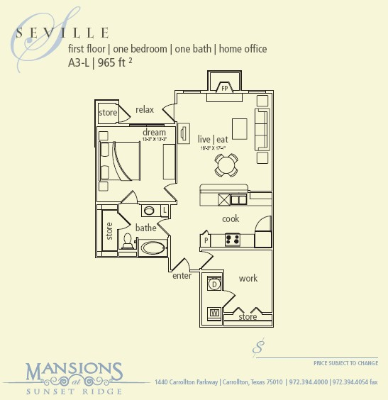 965 sq. ft. Seville floor plan