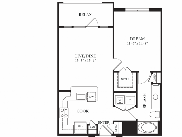 751 sq. ft. Tate floor plan
