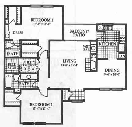 1,186 sq. ft. B2 floor plan
