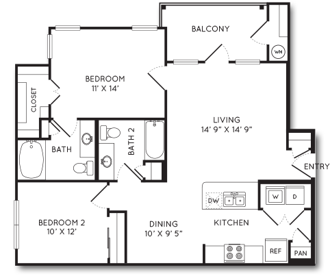 986 sq. ft. B1 floor plan
