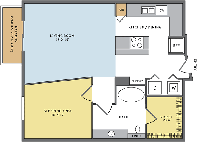 718 sq. ft. 11A floor plan