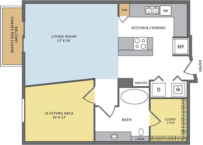 718 sq. ft. 11B floor plan