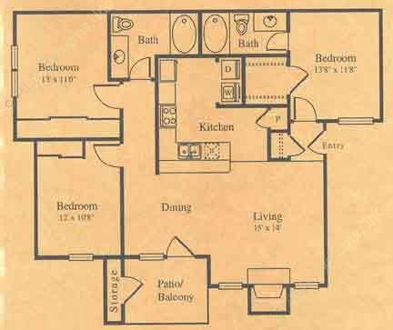 1,250 sq. ft. C-1 floor plan