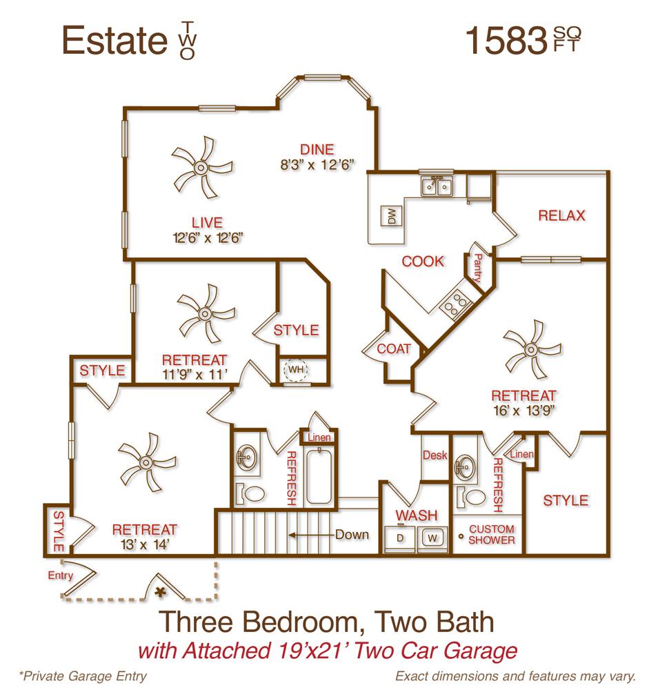 1,583 sq. ft. C2 floor plan