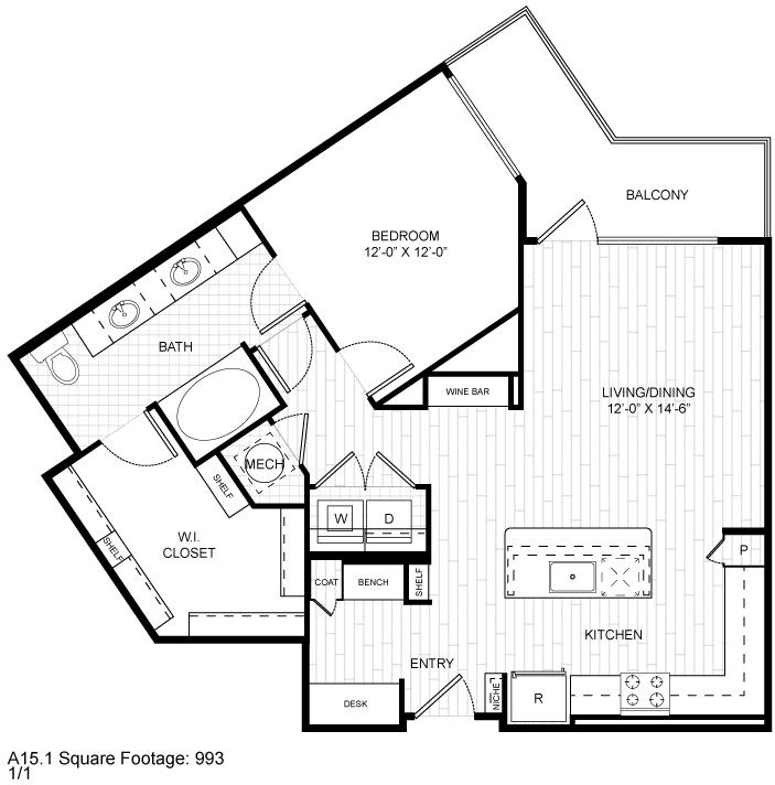 990 sq. ft. A8 floor plan