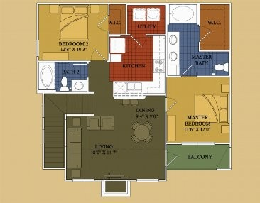1,058 sq. ft. Spanish Oak floor plan