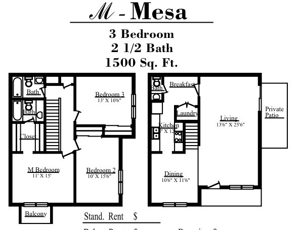 1,500 sq. ft. M floor plan