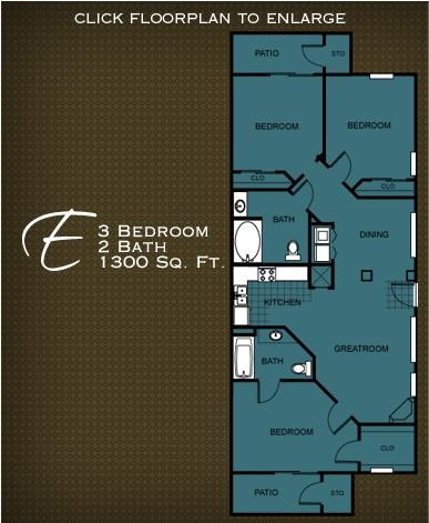 1,300 sq. ft. PLAN E floor plan