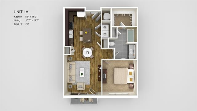 751 sq. ft. 1A floor plan