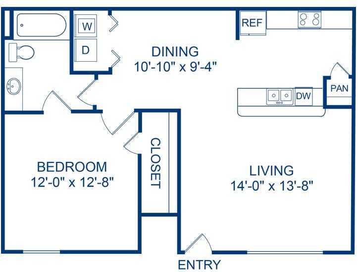 706 sq. ft. Guadalupe floor plan