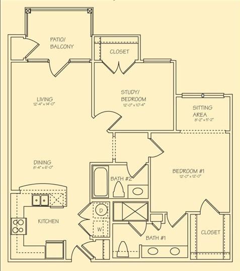1,016 sq. ft. Sorrento floor plan